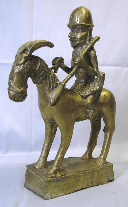 Benin Bronze, Warrior on horseback, African art, african masks, african statues