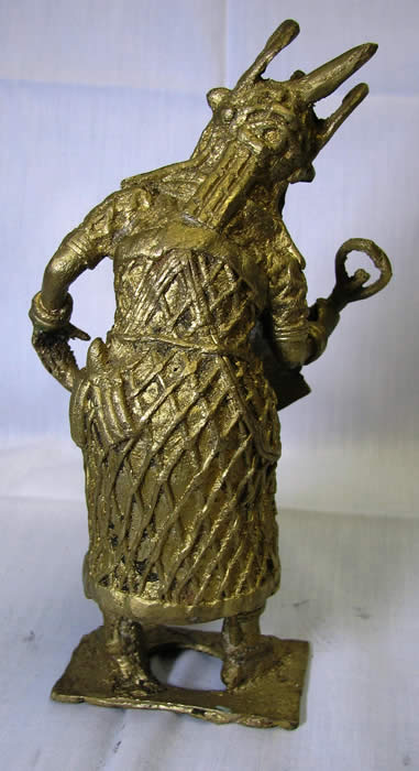benin bronze, oba of benin in ceremonial garb, bronze statue, african art, african masks