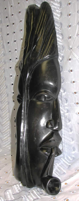 African mask - saint and sinner, african art, wood carving - right view